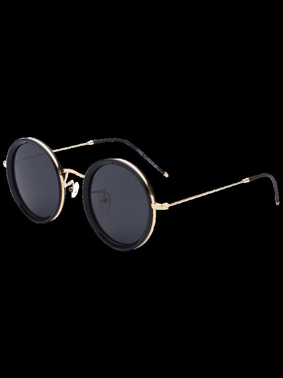 Insertar la pierna de metal gafas de sol redondas - Negro