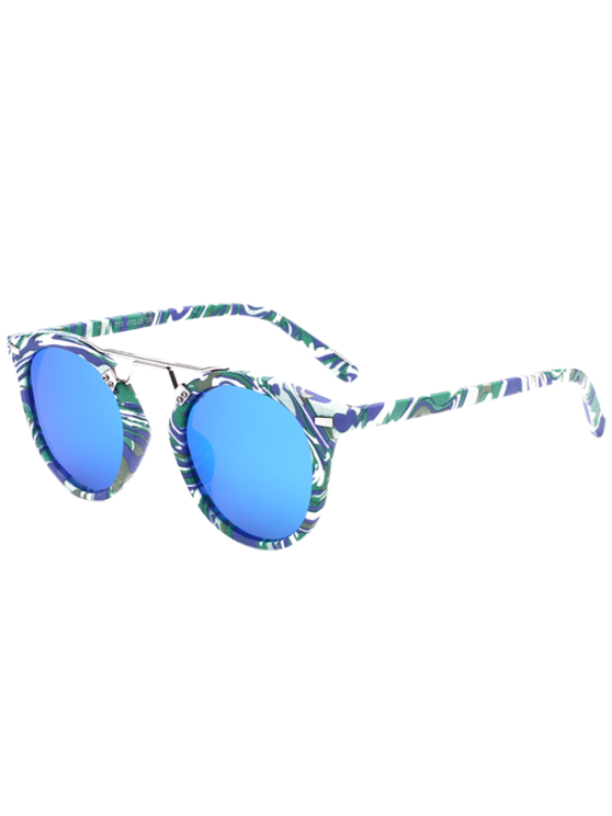outfits Marble Pattern Mirrored Sunglasses - BLUE
