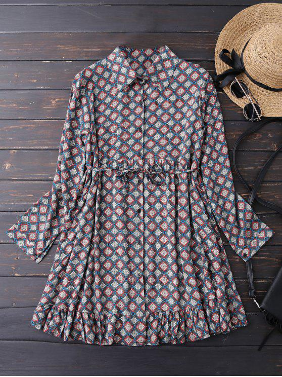 outfits Button Up Argyle Tunic Shirt Dress - BLUE M