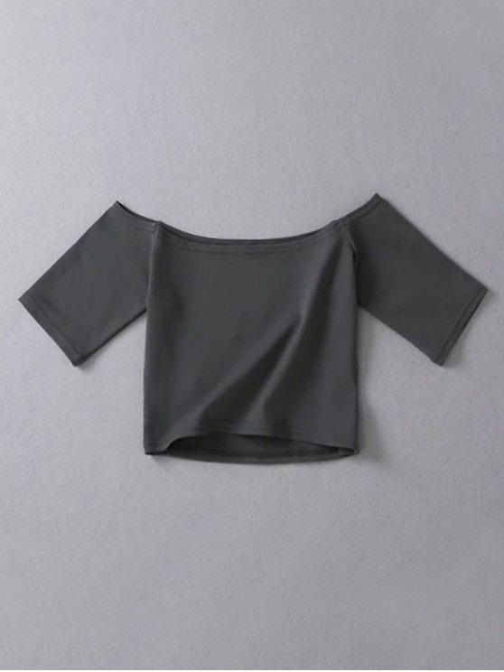 best Cropped Off The Shoulder Top - DEEP GRAY ONE SIZE