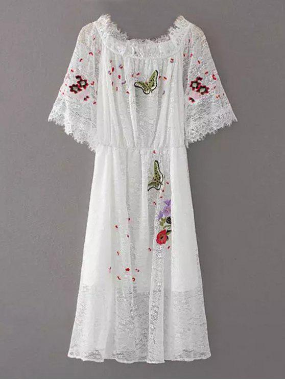 trendy Embroidered Off Shoulder Lace Dress - WHITE S