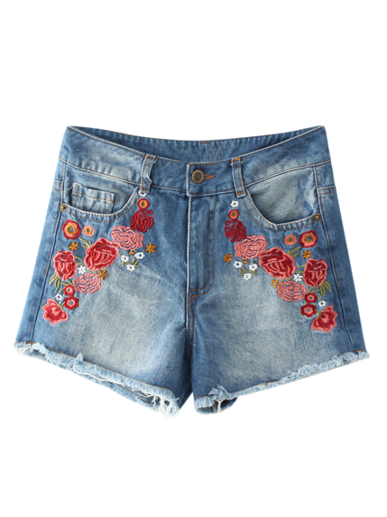 Desgastado Hem florais bordados Denim Hot Shorts - Azul M