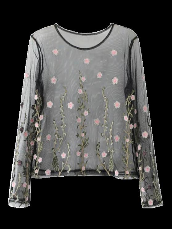 24 off 2019 chemisier tulle transparent brod floral dans noir zaful fr. Black Bedroom Furniture Sets. Home Design Ideas