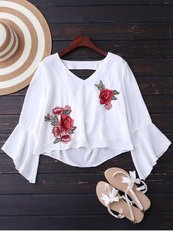 womens Embroidered Rose Flare Sleeve Low Back Blouse - WHITE M