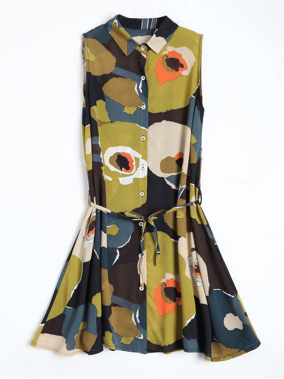 Blumenmuster Mini-Chiffon-Kleid - COLORMIX  M