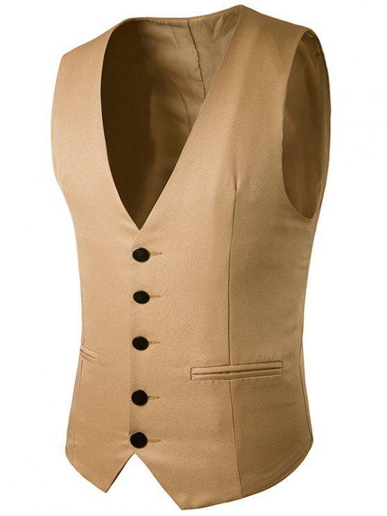 الصدر واحدة فو صدرية جيب - كاكي 2XL