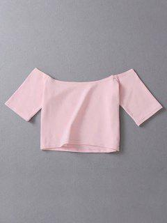 Cropped Off The Shoulder Top - Pink