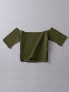 Cropped Off The Shoulder Top - Army Green