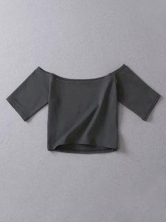 Cropped Off The Shoulder Top - Deep Gray
