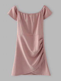 Off Shoulder Ruched Bodycon Dress - Shallow Pink M