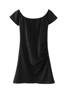 Off Shoulder Ruched Bodycon Dress - Black M