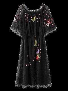 Embroidered Off Shoulder Lace Dress - Black M