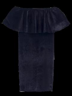 Volantes Cruched Vestido Ajustado De Terciopelo - Negro S