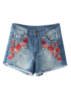 Frayed Hem Floral Embroidered Denim Hot Shorts - Blue M