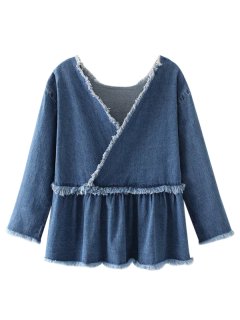 Effiloché Ruffle Denim Surplice Top - Denim Bleu S