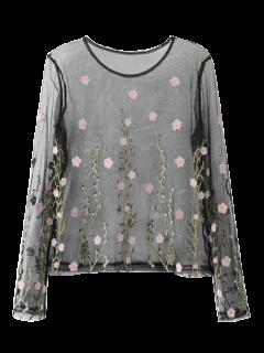 Bordado Floral De La Blusa De Malla Transparente - Negro L
