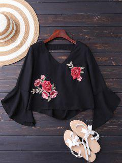 Embroidered Rose Flare Sleeve Low Back Blouse - Black M