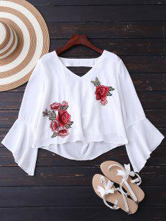Embroidered Rose Flare Sleeve Low Back Blouse - White L