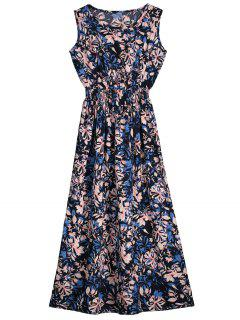 Flower Printed Sleeveless Mid Calf Dress - Xl