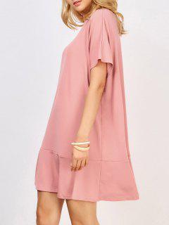 Ruffle Hem Knit Dolman Dress - Pink S