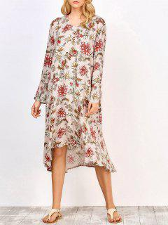 Long Sleeve Midi Floral Dress - Complexion S