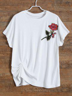 T-shirt Brodé De Fleurs - Blanc