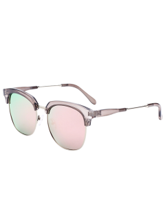 Metallic Panel Club Mirrored Sunglasses - Pink