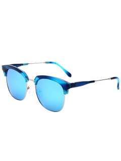 Metallic Panel Club Mirrored Sunglasses - Golden+ice Blue