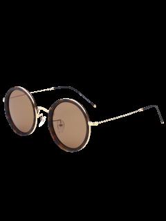 Round Mirrored Sunglasses - Tea-colored