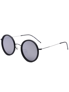 Round Mirrored Sunglasses - Silver