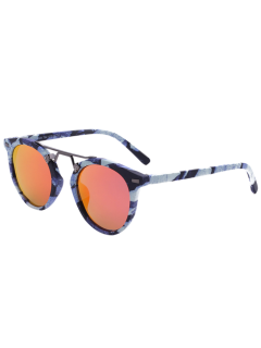 Marble Pattern Mirrored Sunglasses - Orange Red