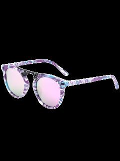 Patrón De Mármol Con Espejo Gafas De Sol - Púrpura