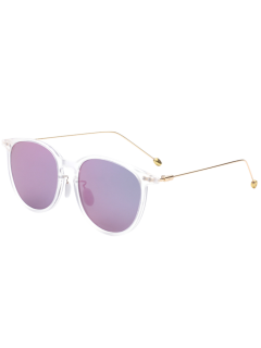 Butterfly Frame Skinny Leg Mirrored Sunglasses - Purple