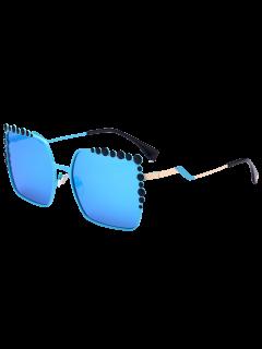 Bubble Shape Insert Oversized Mirrored Sunglasses - Blue