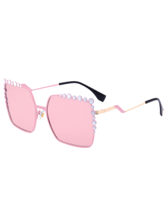 Bubble Shape Insert Oversized Mirrored Sunglasses - Pink