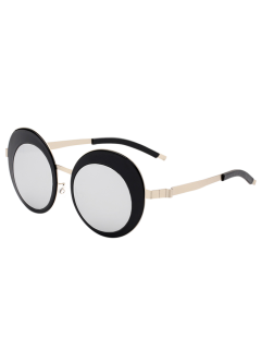 Round Panel Oval Lens Metallic Mirrored Sunglasses - Silver