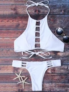 Padded Ladder Cut Bikini Set - White M