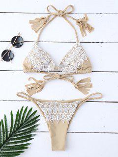 Halter-Bikini-Set Mit Quasten Und Spitzendetail - Beige (weis) S