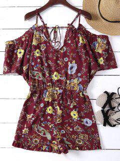 Floral Flounced Cold Shoulder Romper - Brick-red Xl