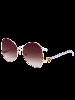 Handheld Faux Pearl Metallic Oversized Sunglasses - Golden