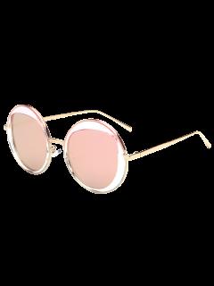 Gafas De Sol Redondas De Metal Con Espejo - Rosa
