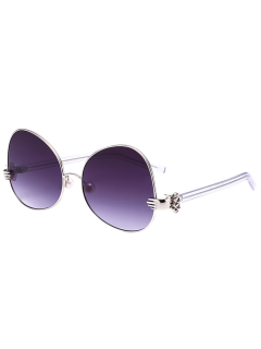 Handheld Faux Pearl Metallic Oversized Sunglasses - Silver