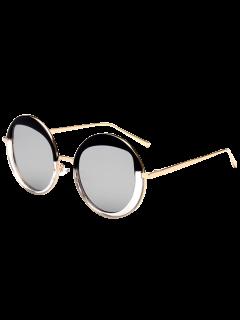Round Metallic Mirrored Sunglasses - Silver