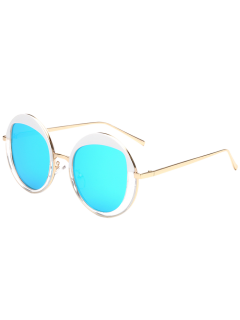 Round Metallic Mirrored Sunglasses - Ice Blue