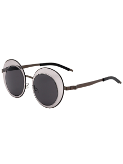 Round Panel Oval Lens Metallic Sunglasses - Gun Metal Frame + Grey Lens