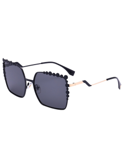 Bubble Zigzag Leg Metallic Sunglasses - Black