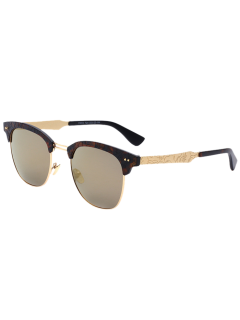 Carve Leg Butterfly Mirrored Sunglasses - Golden