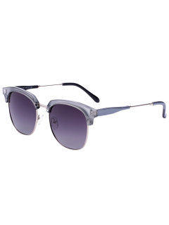 Metallic Panel Golf Sunglasses - Silver Frame+dark Brown Lens