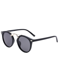 Alloy Nose Bridge Streetwear Sunglasses - Black