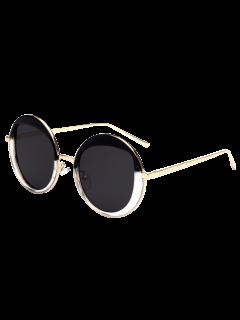 Round Metallic Sunglasses - Black